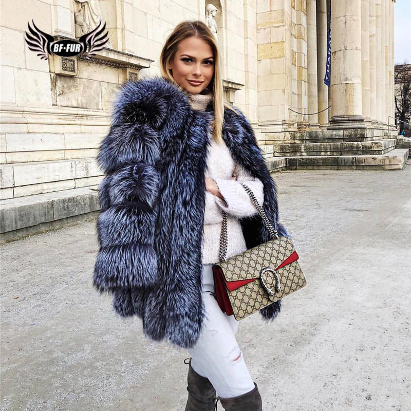 2019 BFFUR Luxury Womens Coats Winter Thick Warm Silver Fox Fur Fashion Clothing Whole Skin Real Fur Parka Casual Real Fur Coat