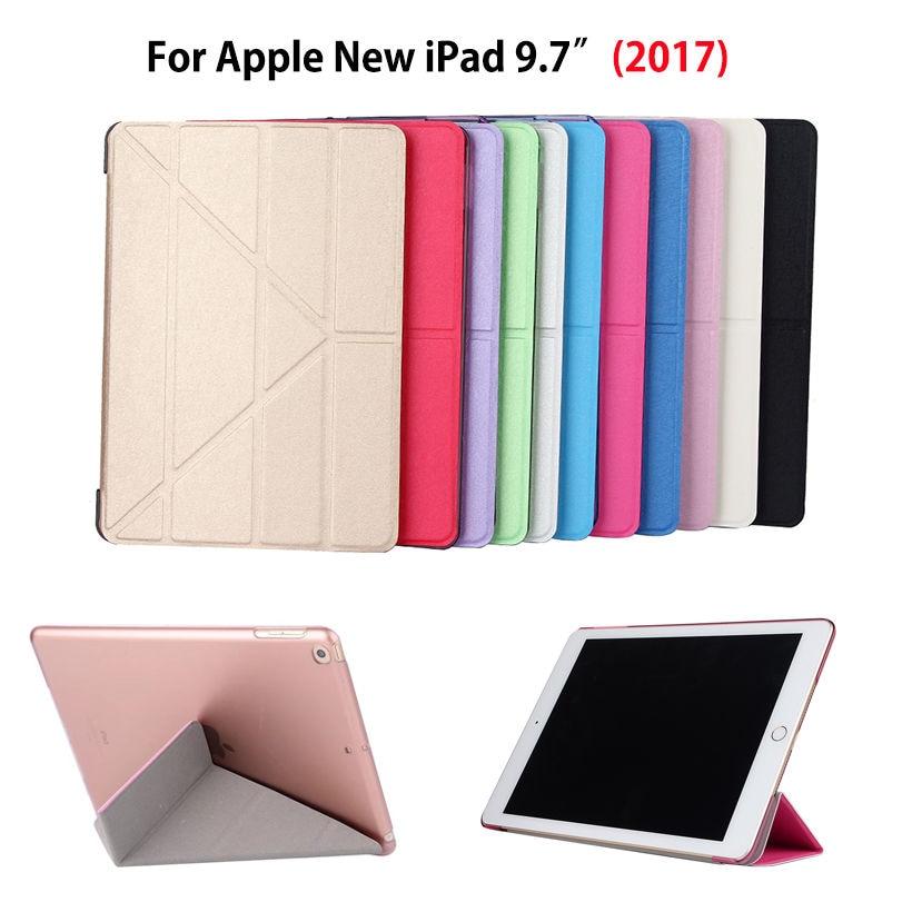 Luxury Cover Stand Tablet Case For Apple New iPad 9.7 2017 A1822 A1823 Funda Silk Felt Leather+Hard PC Case three fold Flip