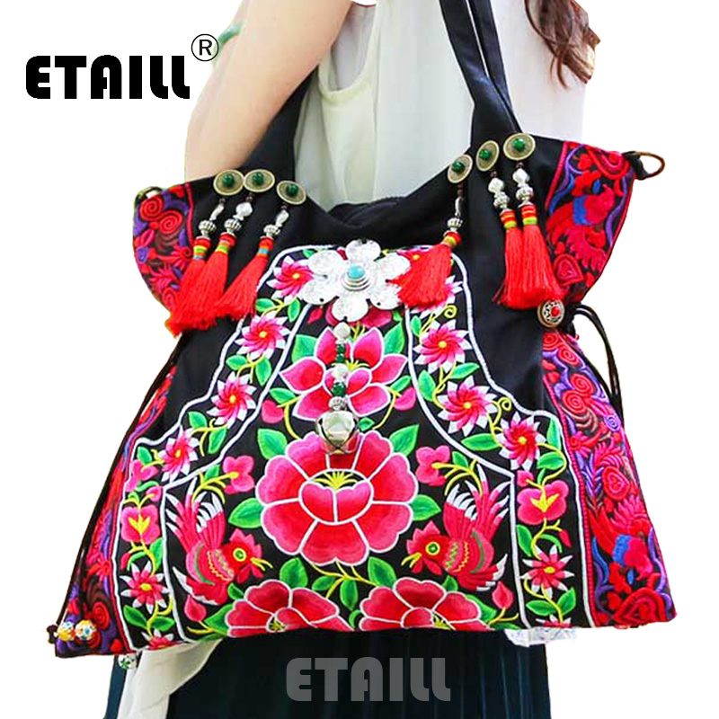 ETAILL Large National Chinese Hmong Style Embroidered Shoulder Bags with Tassel Handmade Embroidery Ethnic Cloth Crossbody Bag 2016 summer national ethnic style embroidery bohemia design tassel beads lady s handbag meessenger bohemian shoulder bag
