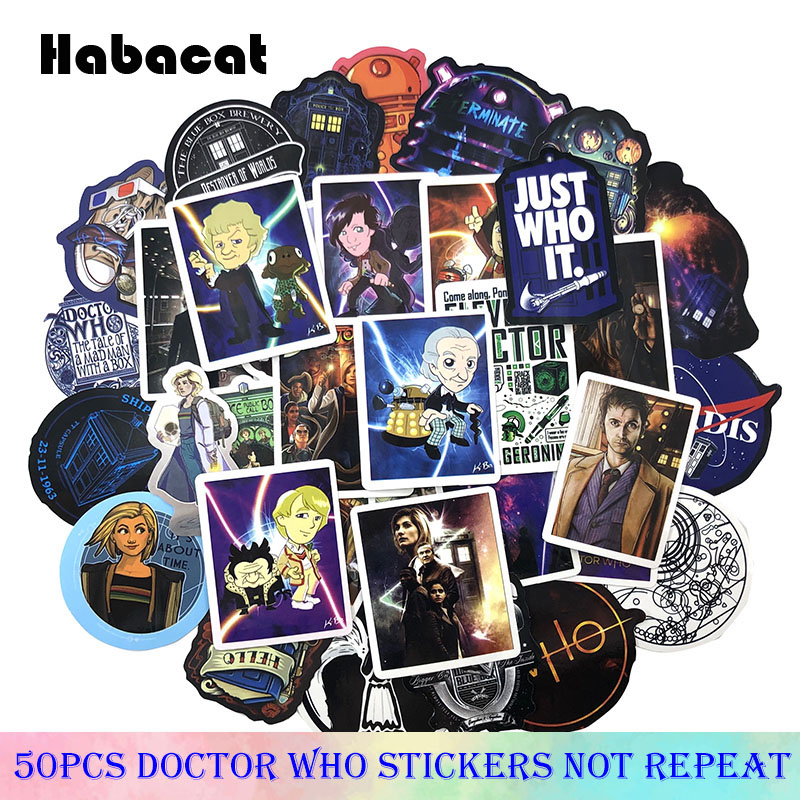 50Pcs/Pack Doctor Who Mixed Stickers American TV Series For Luggage Laptop Skateboard Stickers Moto Bicycle Car Guitar Fridge