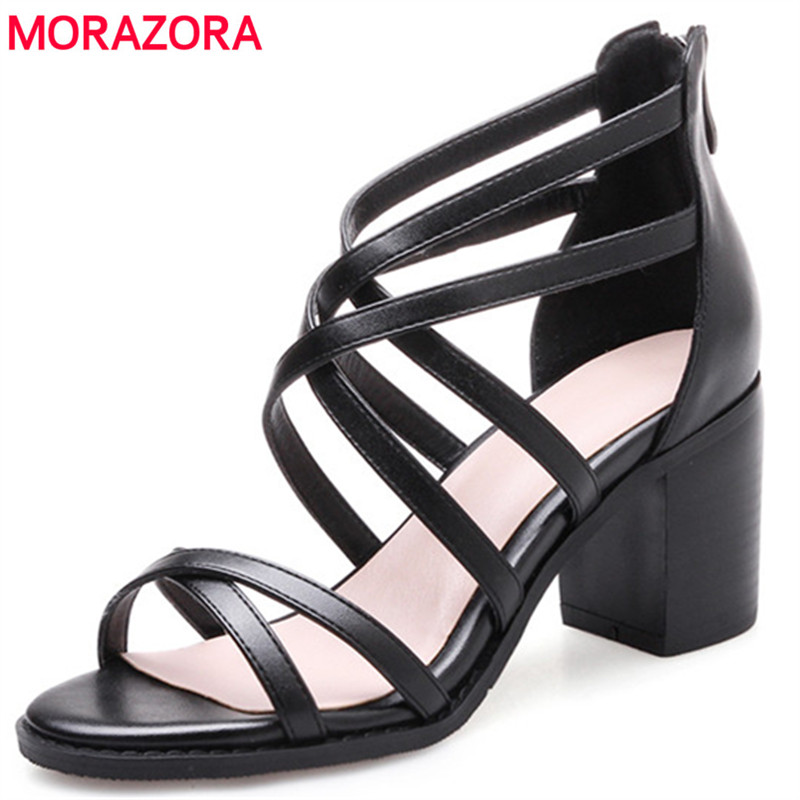 MORAZORA Genuine leather shoes woman top quality women sandals summer shoes high heels 7cm roman shoes black zip retro sexy ladyMORAZORA Genuine leather shoes woman top quality women sandals summer shoes high heels 7cm roman shoes black zip retro sexy lady