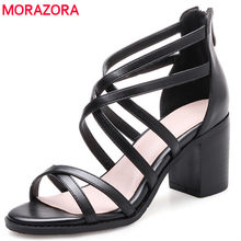 MORAZORA Genuine leather shoes woman top quality women sandals summer shoes high heels 7cm roman shoes black zip retro sexy lady(China)