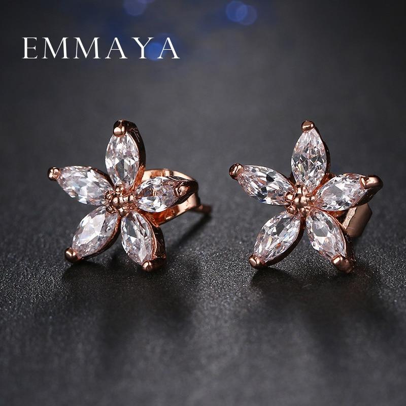 Emmaya Hot Sale Trendy Popular Clear Crystal Rhinestone Flower Shaped Stud Earrings Wholesale Factory Price Dropship