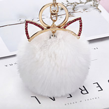 Imitated rabbit fur Ball Key Chains Fashion Rabbit Ear Pendant Woman Handbag Key Ring Delicate Metal Pompom Key Jewlery EH876(China)