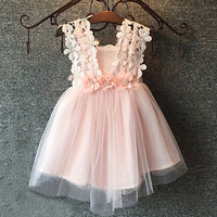 Korean Baby Girl Summer Dresses For Girls Vestido Infantil Sleeveless Flowers Voile Mesh Lace Princess Party