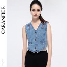 CARANFIER 2018 New Women Vest Cowboy Vest Jacket Coats Female Spring Clothing Cardigan Coat Fashion Sleeveless Denim Vest