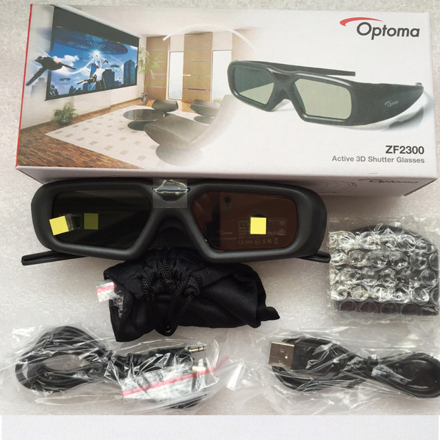 1set original ZF2300 Active RF 2.4G bluetooth 3D Glasses only For Optoma VESA 3D Projector HD26/3DW1/HD33/HD25/HD25E Emitter