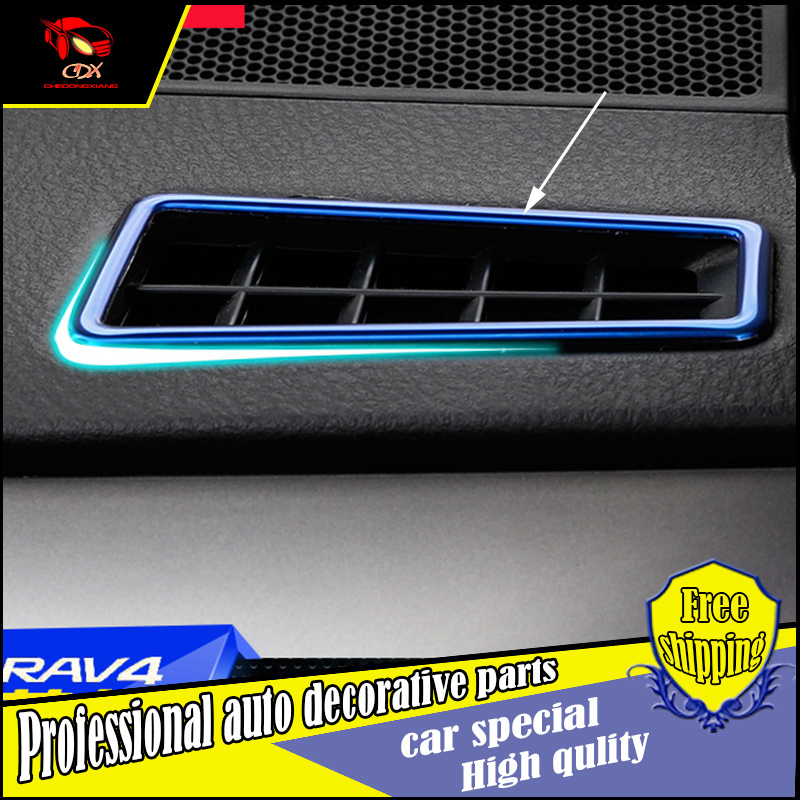 2PCS Car styling Instrument table dashboard Both sides air outlet cover trim air Outlet Vent decorate For Toyota RAV4 2014-2016
