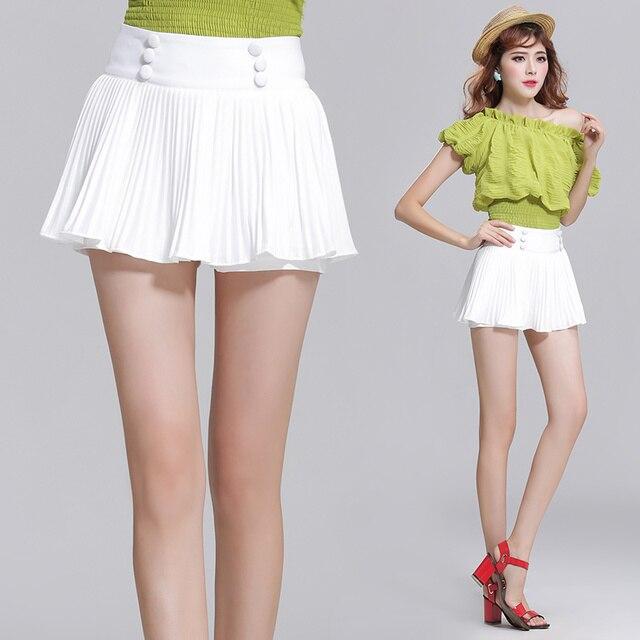 18724515b € 13.48 |2016 Mujeres Del Verano de Pantalones Cortos de Talle Alto Faldas  Plisadas Gasa Blanca Mini Faldas de Las Mujeres Atractivas Shorts Falda ...