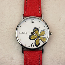 YAZOLE Fashion Women Watches Reloj Luck Flower Floral Jelly Dress Watches Lady Girls Drop Shipping Wholesale Christmas Gift D15