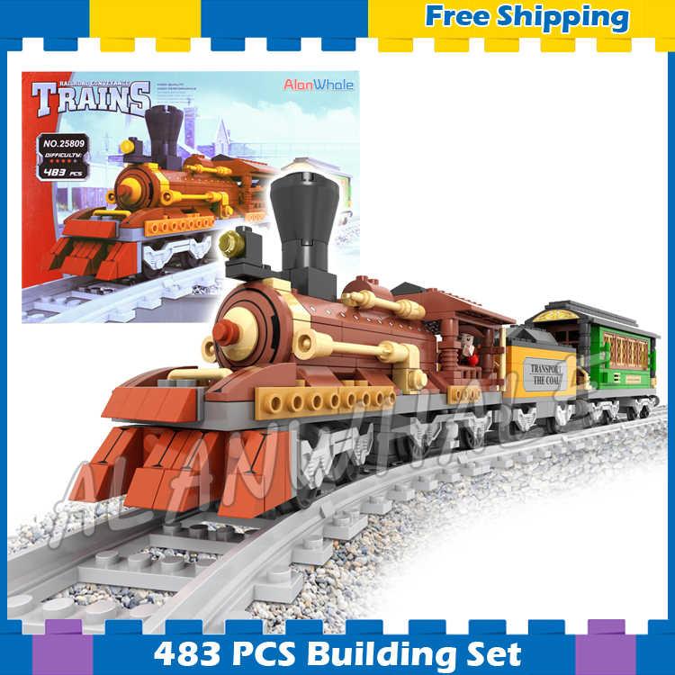 483 шт поезд создатель классический паровой Паровозик поезда 25809 модель
