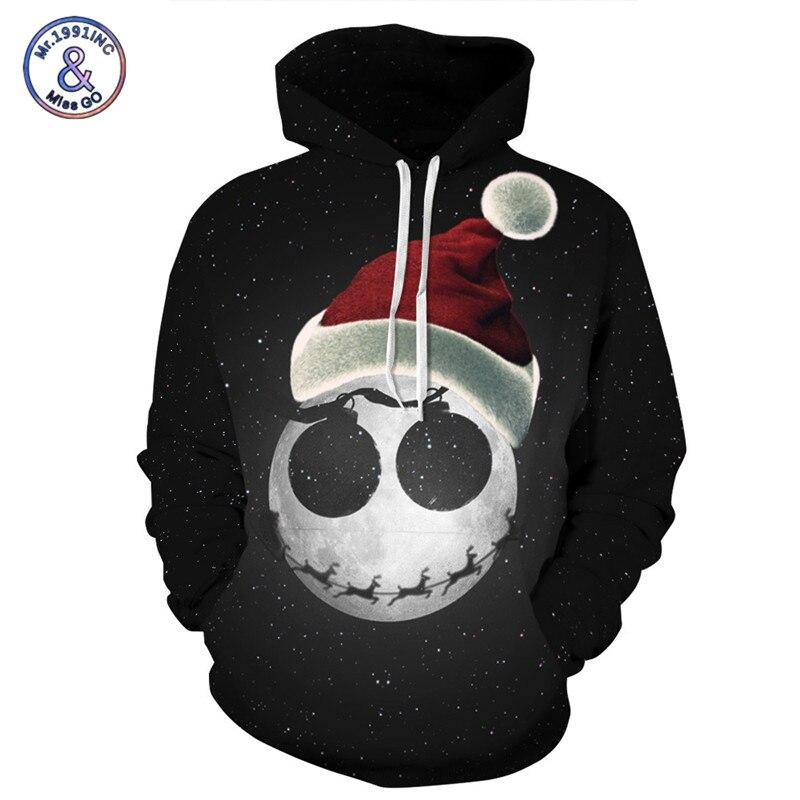 Mr.1991INC Brand 3D Sweatshirts Men/Women Christmas Hat Printed Hoodies Men Hooded Pullovers Sweatshirt Couples Hoody Tops