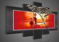 هاندبينتيد 5 قطعة/مجموعة المتناول الحديثة الرسم على قماش جدار الفن صورة شخصية كبيرة الطلاء مجردة الفن نمط الأفريقية