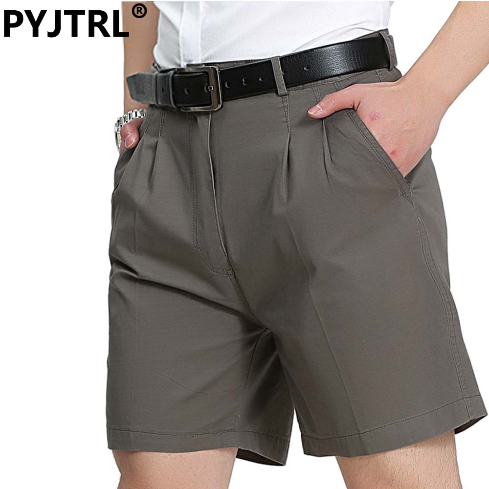 6e0408e9 PYJTRL 100% Cotton Summer Middle Age Dad Men's Business Affairs Leisure  Time Casual Middle Mens Shorts Homens