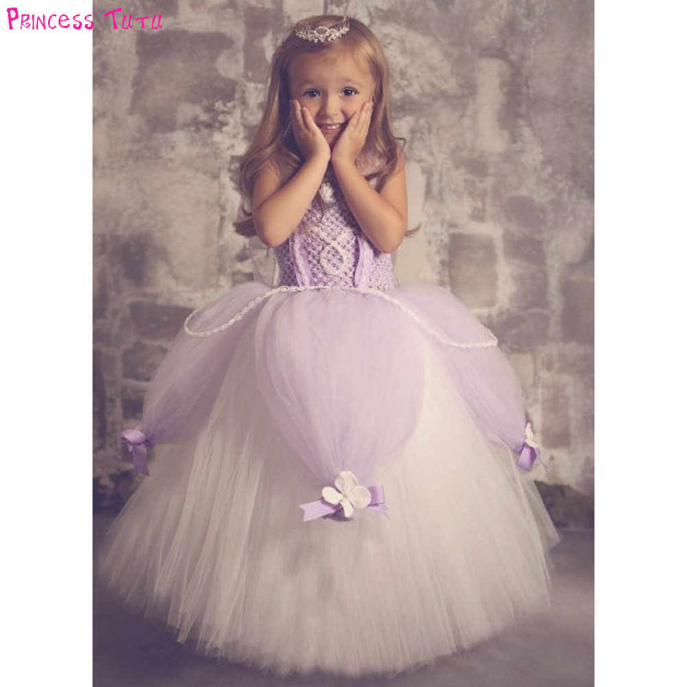 Princess Little Girl Sofia Tutu Dress Pageant Lavender Flowers Girls Pearls Fluffy Birthday Party Dresses Halloween Costume Set rhinestone princess sofia white top flower lavender skirt baby girl costume 1 8y mg1320