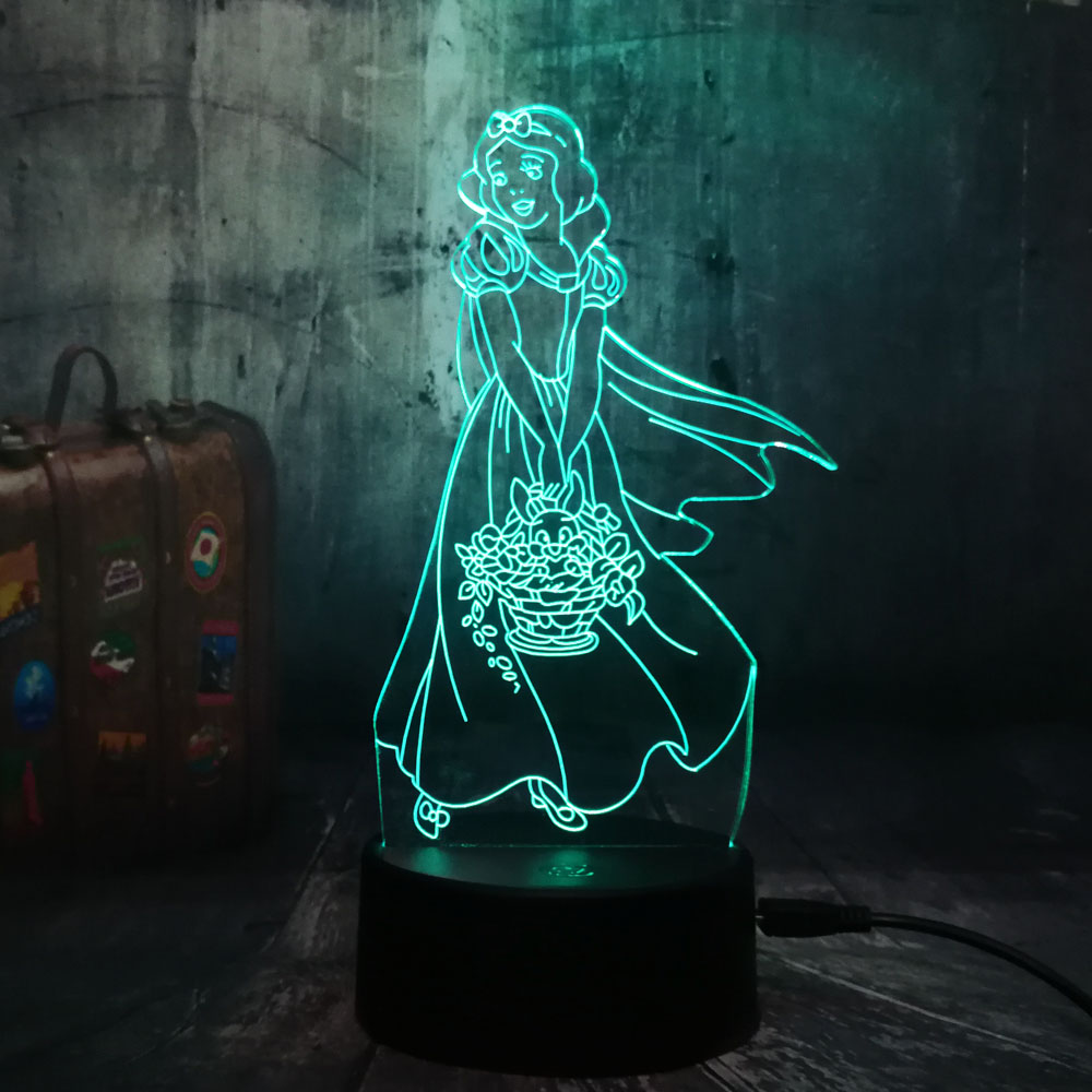 Beautiful 3D LED Night Light Snow White Princess Room Bar Decor Pretty Pattern Christmas Gift For Girls Kid USB Desk Sleep Lamp