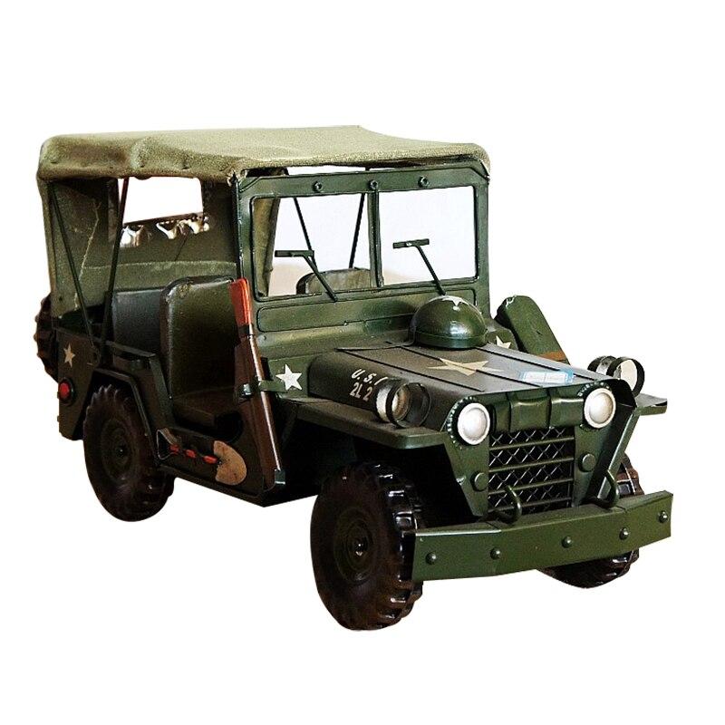 Vintage alliage Handcarfts camion Statue Figurine décoration de la maison Design Original voiture militaire artisanat pour maison bureau décor jouet