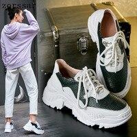 Barato Nuevo 2019 primavera Deporte Zapatos casuales zapatos de mujer blanco zapatos creepers de plataforma de las