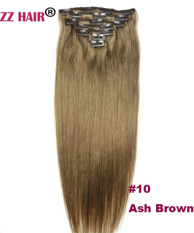 """ZZHAIR 100g-140g 16 """"-24"""" Искусственные волосы одинаковой направленности волос 7 шт набор Клипов в 100% Пряди человеческих волос для наращивания"""