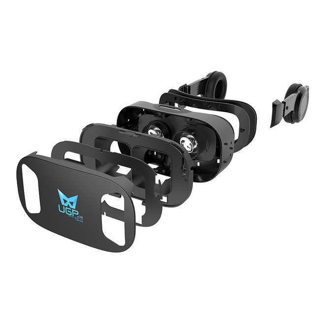 UGP U8 VR Glasses 3D Headset version IMAX Virtual Reality Helmet 3D Movie Games With Headphone 3D VR Glasses optional controller 5