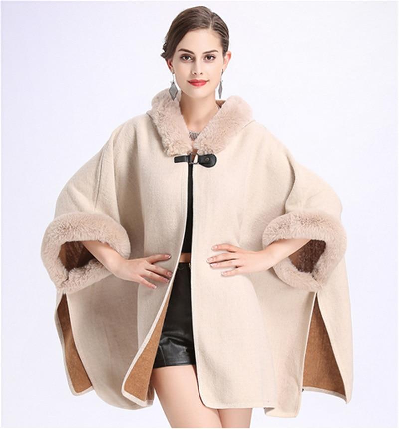 SWONCO Woolen Coat Cape Women 2019 Fur Hooded Warm Faux Rabbit Poncho And Capes For Winter Cloak Long