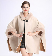 SWONCO Woolen Coat Cape Women 2019 Fur Hooded Warm Faux Rabbit Poncho And Capes For Winter Cloak Long