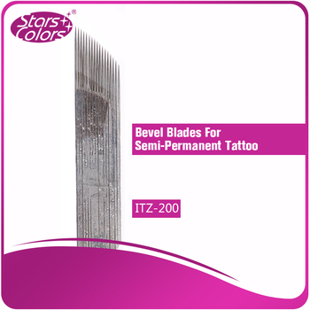 100 pieces one time High Quality Stainless Steel Tattoo bevel Blades Needles 0.25 mm thickness 17 Pins for eyebrow