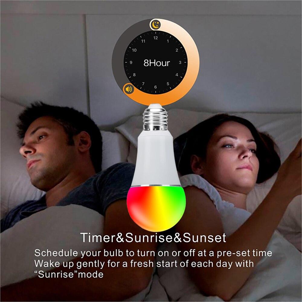 Ampoule intelligente menée chaude de Wifi, lampe d'étape de couleur du blanc 7 W 16 millions rvb de rvb Compatible avec le paquet de 3 PC d'app de téléphone à la maison d'alexa Google - 6