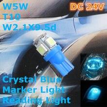 24 V CONDUZIU a Lâmpada de Cristal Azul da Cor Do Carro Lâmpada T10 (5*5050 SMD) W5W W2.1X9.5d por Sinal Top Largura de Leitura Luz