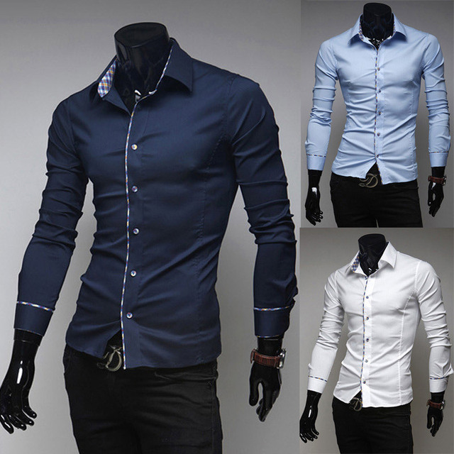 2014 nieuwe merk lente luxe fashion heren overhemden casual slim fit lange mouw sociale camisas masculinas voor man M-XXL