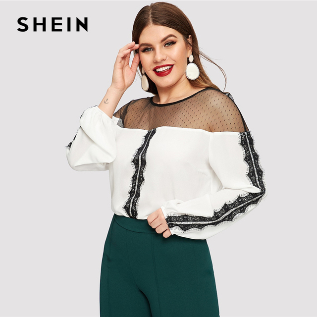 SHEIN Dot Contrast Mesh Lace Insert Colorblock Top Plus Size Elegant Blouses 2019 Women Spring Bishop Sleeve Top Blouse