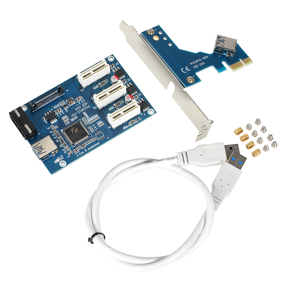USB 3.0 PCI-E PCI Express 1X 3-Port Expander PCI-E 1X 1 to 3 Ports Riser Card Express Card Adapter Multiplier for Mining 3 in 1 pci express pci e 1x slots riser card pci e 1 to 3 expansion adapter 2 layer pcb board 60cm usb 3 0 cable for mining