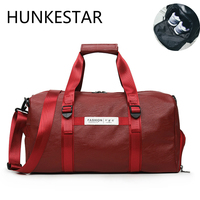 2019 new Wine Red Black Shoulder Leather Gym Bag Men Fitness Women's Sports Bags for Gym with Shoes Space for Ladies Training