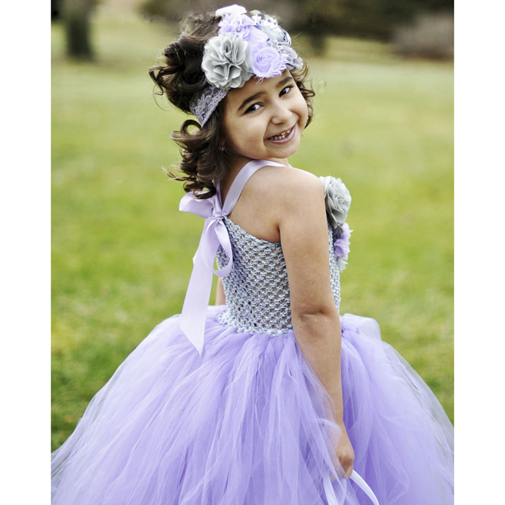 20c4adf57dc Lavender Gray Flower Girl Tutu Dress Spring Photo Prop Baby Girls Size 12  18 Months 2T 3T 4T 5 6 7 8 10 Autumn Wedding Dresses-in Dresses from Mother    Kids ...