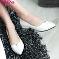 VALLKIN Size 11 12 Thick Heel Lady Summer Shoes Woman PU Pointed Toe  Pumps Rhinestone Slip on Ladies White Wedding Shoe