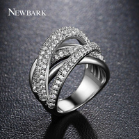NEWBARK Brand Hot Sell Multi Layered Finger Ring AAA CZ Micro Pave Setting Irregular X Crossover
