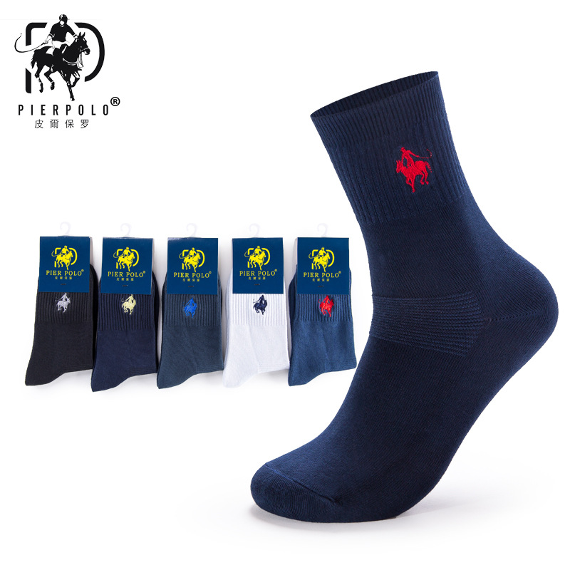 5pairs/lot PIER POLO Brand Men Socks Embroidery Winter Man Socks Cotton High Quality Sheer Mens Dress Socks Calcetines Hombre