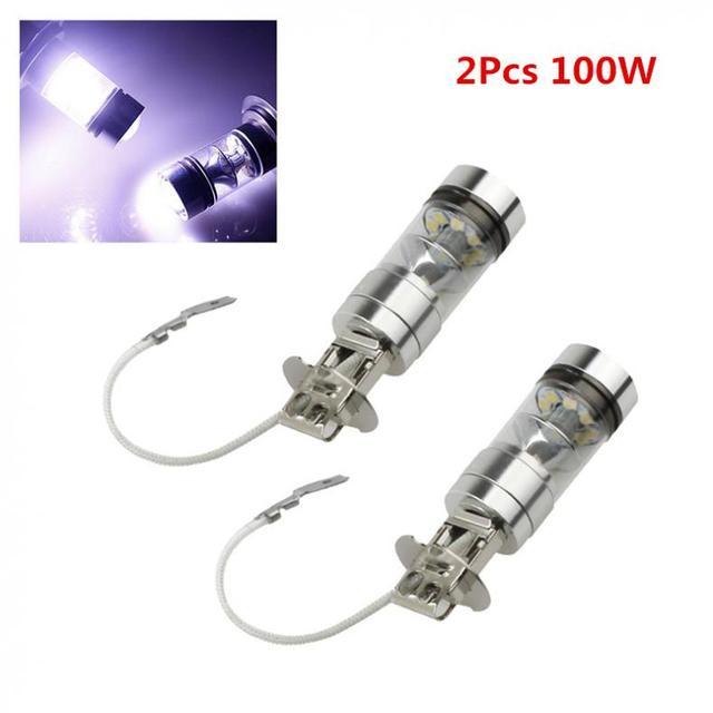 2PCS 12 V 100W H3 LED bulb 20 SMD Car Fog light Chips 12V ~ 24V 360 Degrees White Car Electronics