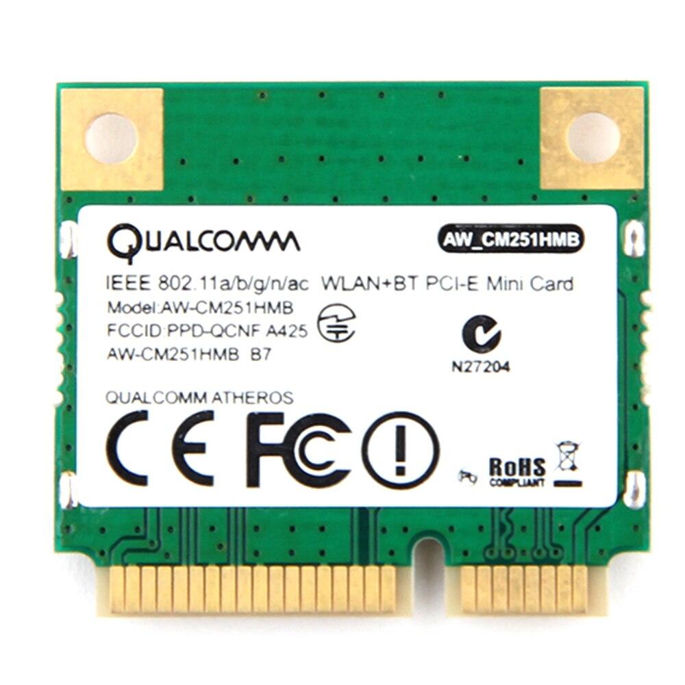 Double Bande Atheros WiFi Bluetooth Carte 433 Mbps Qualcomm AW-CM251HMB 802.11a/b/g/n/ac 2.4 /5G BT 4.0 Sans Fil Mini PCI-E Wlan