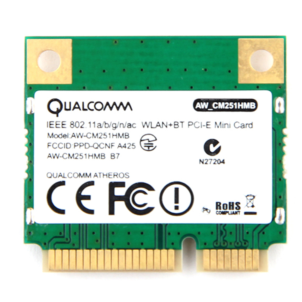 Dual Band Atheros WiFi Bluetooth Card 433Mbps Qualcomm AW-CM251HMB 802.11a/b/g/n/ac 2.4/5G BT 4.0 Wireless Mini PCI-E Wlan