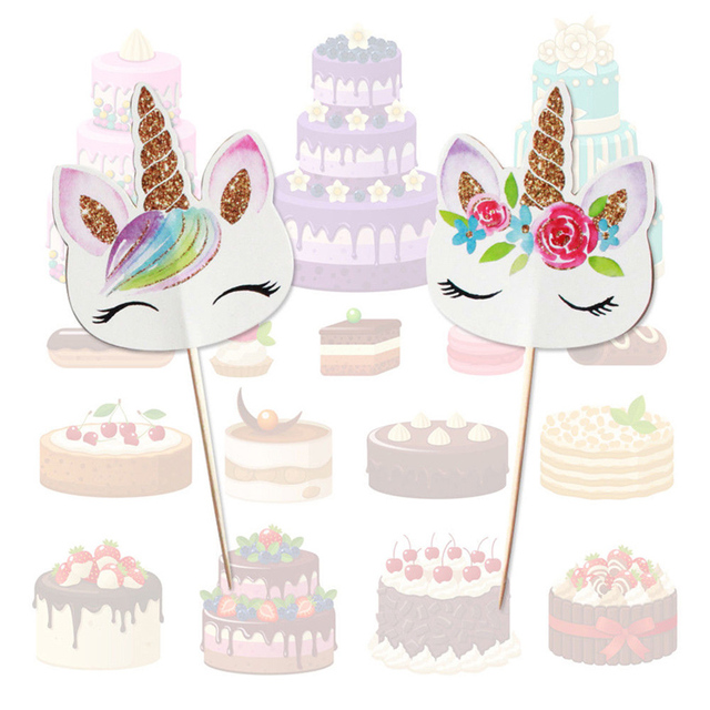 24pcs Cupcake Toppers Unicorn Party Wedding Cake Decorations Tools ...