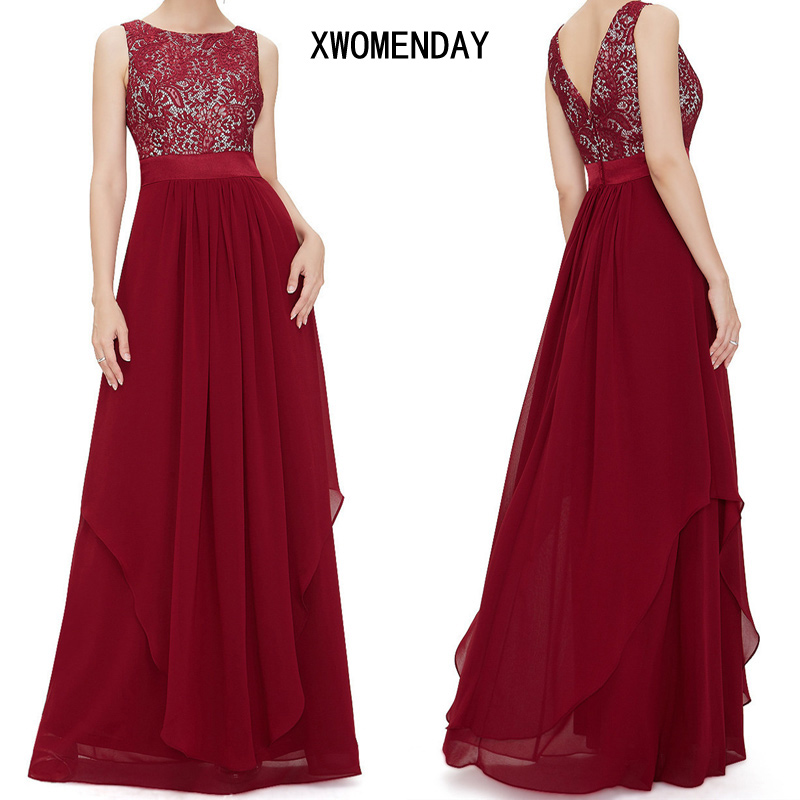 Women Summer Sexy Backless Lace Party Long Dress Sleeveless Red Black Maxi Dress 2018 Ladies Elegant Party Dresses Plus Size 2Xl