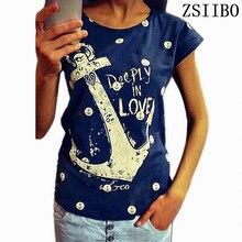 1b7cfdeab4 2017 verano tops tees corta t camisa mujeres ancla de barco camiseta mujer  t camisa mujer