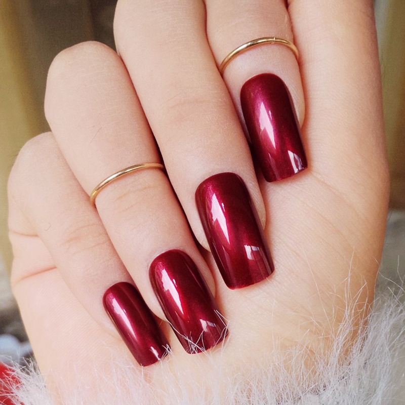 Specular Reflection Vampire Wine Red False Nails Shiny Square Long ...