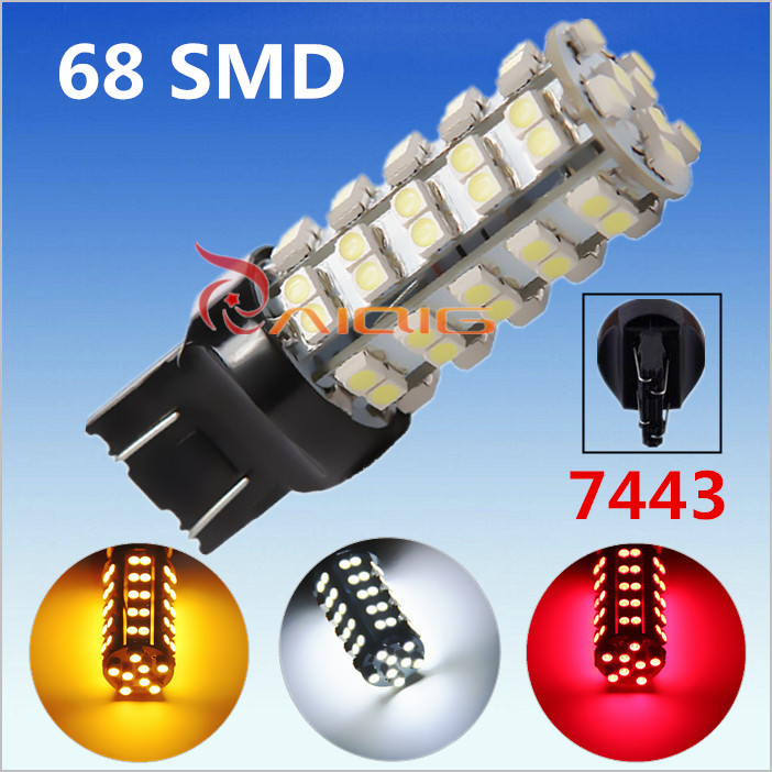 7443 7440 68 SMD Pure White /Yellow/Red 3528 Stop Tail Brake Signal  T20 W21 5W 12V 68 LED Car Light Bulb parking 2016 sewor brand design leather skeleton man male sport clock business automatic mechanical self wind fashion wrist luxury watch