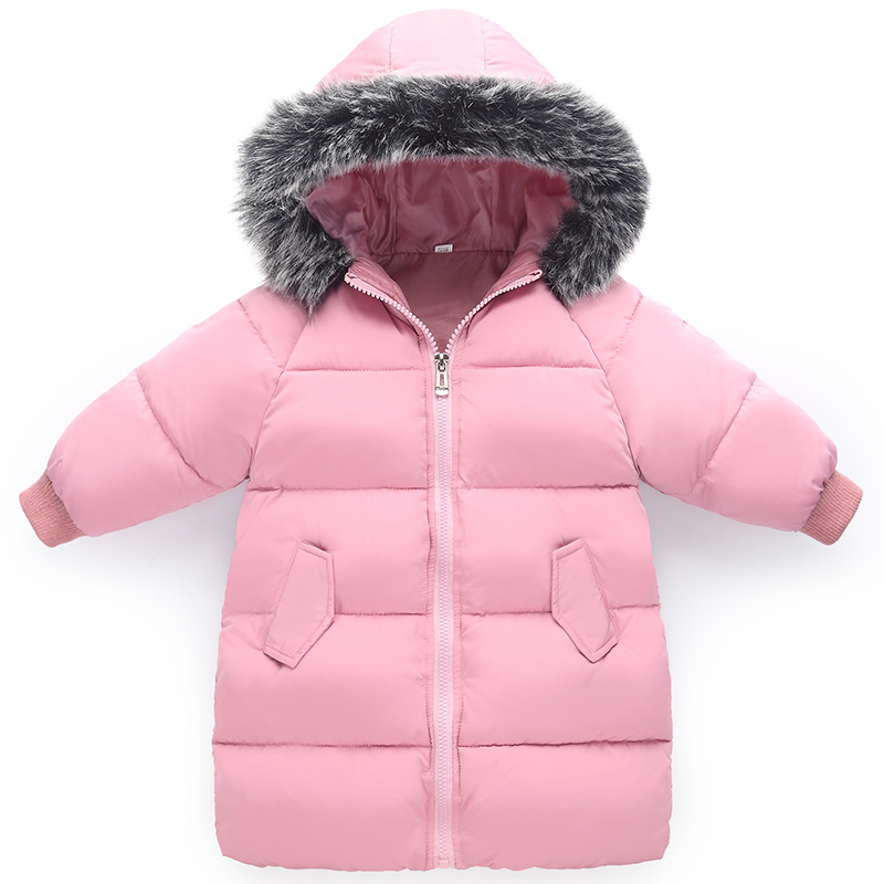 2018 Children's Winter Down Jacket Long Girls Pink Hooded Thicken Warm Jacket Baby Winter Coat Kids Fashion Cotton Coat Outwear new winter women coat thicken down cotton coat for women parkas hooded woman jacket long winter coat woman padded outwear female