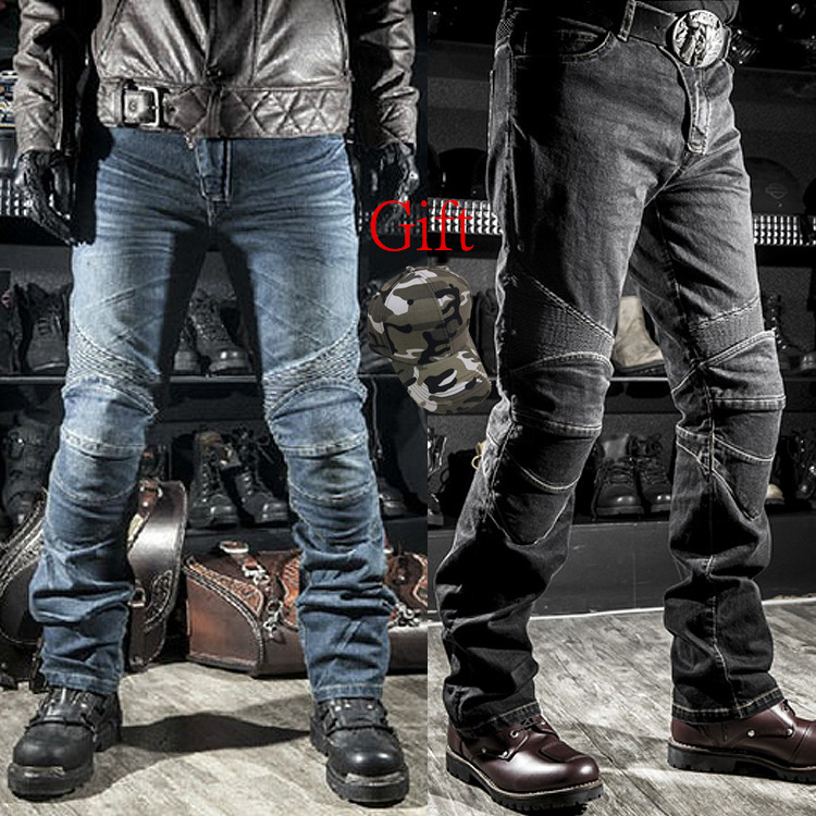 VOLERO Motorcycle Jeans Drop Resistance Slim Denim Automobile Racing Pants Motocross Hockey Pants Black/Blue