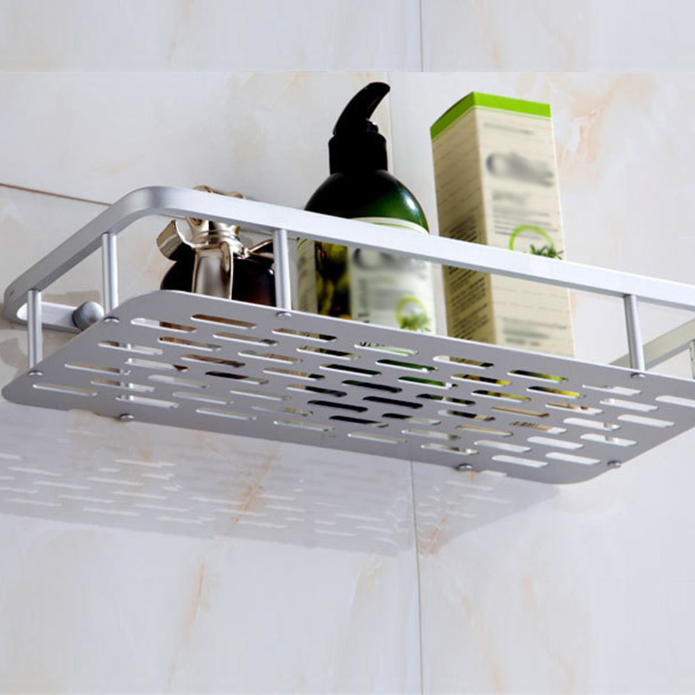 Bathroom Shelves Space Alumimum 1/2 Tier Home Kitchen Bathroom Shower Storage Shelf Caddy Basket Rack wall mounted Bath Shelve