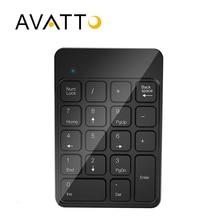 [AVATTO] Rechargable 2.4G Wireless USB Numeric Keypad 18 Keys for Digital Keyboard Ultra Slim Number Pad Compute PC Laptop