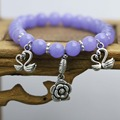 Fashion purple Chalcedony Beads Bracelet natural stones Flowers Pendant Tibet Silver Accessories hand chain for women girls